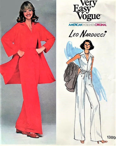 70s FAB Jumpsuit and Jacket Pattern Vogue American Design 1389  Zip-Front Jumpsuit Long Cardigan Jacket Bust 36 Very Easy Vintage Sewing Pattern