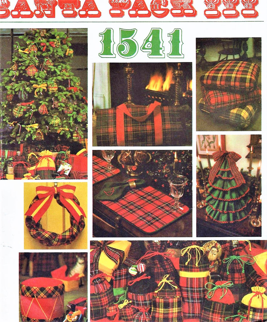 LOVELY 1970s Santa Pack III Christmas Accessories VOGUE 1541 Christmas Tree Centerpiece, Gift Bags, Log Carrier etc Vintage Crafts Sewing Pattern UNCUT