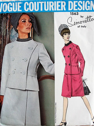 60s Mod SIMONETTA Two Piece Dress and Jacket Pattern VOGUE Couturier Design 1563 Easy Elegance Daytime or Cocktails Bust 31 Vintage Sewing Pattern FACTORY FOLDED