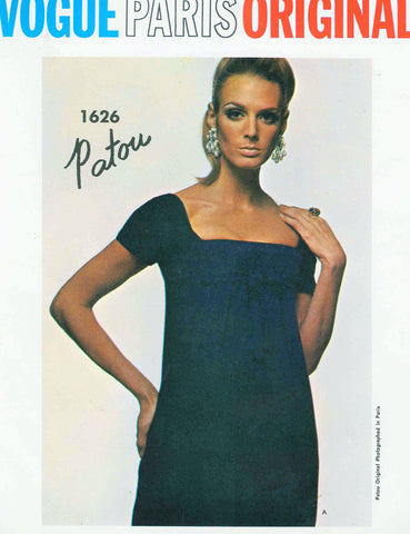 60s Patou STUNNING Low Cut Cocktail Dress Pattern Vogue Paris Original 1626 Square Neckline Empire Style Cocktail or Formal Evening Length Bust 34 Vintage Sewing Pattern