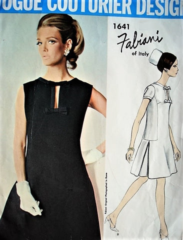 60s FABULOUS Mod FABIANI Cocktail Party Evening Dress Pattern VOGUE Couturier Design 1641 Bust 31 Vintage Sewing Pattern