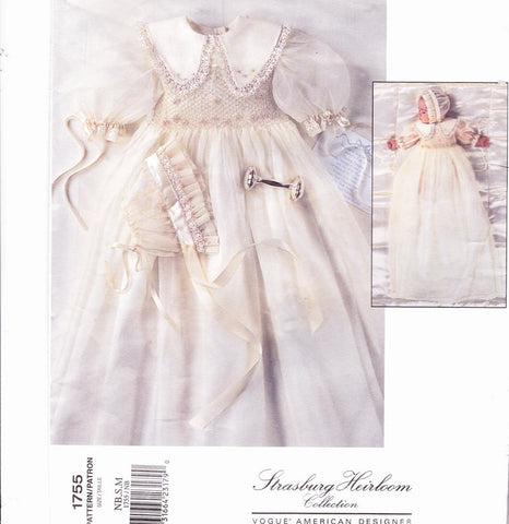 BEAUTIFUL Vintage Baby Babies New Born Christening Gown and Bonnet Cap Pattern Vogue 1755 Strasburg Heirloom Collection Lovely SMOCKED Bodice  Sizes NewBorn,S,M Vintage Sewing Pattern UNCUT