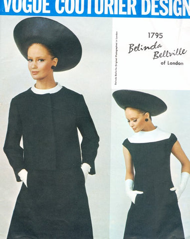 60s BELINDA BELLVILLE Striking Dress and Jacket Pattern VOGUE COUTURIER DESIGN 1795 Day or Cocktail A Line Dress and Fitted Jacket Bust 32 Vintage Sewing Pattern FACTORY FOLDED