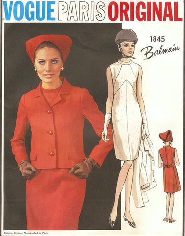 60s Mod BALMAIN Dress and Jacket Pattern VOGUE PARIS Original 1845 Geometric Sheath Dress Fitted Jacket Bust 32 Vintage Sewing Pattern UNCUT