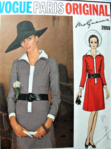 60s STYLISH Molyneux Aline Dress Pattern VOGUE Paris Original 2059 Day or After 5 Dress Bust 34 Vintage Sewing Pattern FACTORY FOLDED