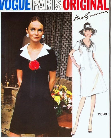 70s MOLYNEUX Lovely Dress Pattern VOGUE PARIS Original 2398 V Neckline A Line Lovely Notched Collar Bust 36 Vintage Sewing Pattern UNCUT