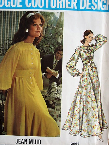 70s Vintage LOVELY High Waisted Dress Vogue Couturier Design 2664 Bust 34 Jean Muir Retro Fashion