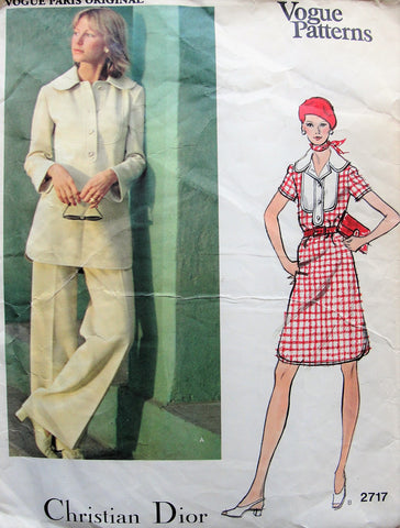 70s Christian Dior Dress,Tunic and Pants Pattern VOGUE Paris Original 2717 A Line Dress or Button Front Tunic Wide Straight Legged Pants Bust 34 Vintage Sewing Pattern