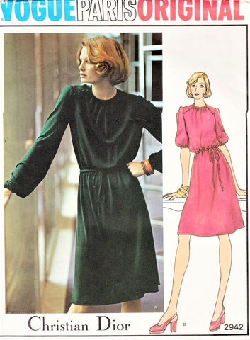 1970s PRETTY Dress Pattern Vogue 2942 VOGUE Paris Original CHRISTIAN DIOR Bust 34 Vintage Sewing Pattern