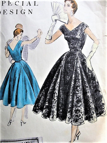 50s BEAUTIFUL Evening Party Dress Pattern VOGUE Special Design 4544 Flattering 4 Panel With Godets Bust 32 Vintage Sewing Pattern