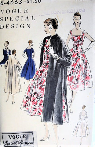 50s Beautiful Cocktail Dress Evening Coat Pattern VOGUE SPECIAL DESIGN 4663 Bust 30 Vintage Sewing Pattern