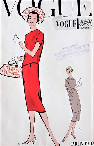 50s ELEGANT 2 Pc Dress Pattern VOGUE Special Design 4879 Slim Skirt With 2 Overblouse Lengths Day or Dinner Bust 34 Vintage Sewing Pattern