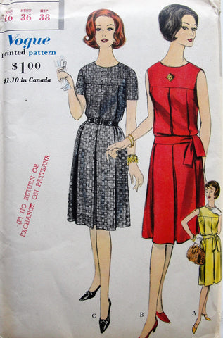 1960s Dress Pattern Vogue 5265 Classy One Piece Dress with Wide Box Pleats and Sash Bust 36 Vintage Sewing Pattern FACTORY FOLDED