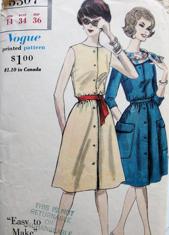 1960s Dress Pattern Vogue 5307 Easy to Make One Piece Dress and Scarf Bust 34 Vintage Sewing Pattern