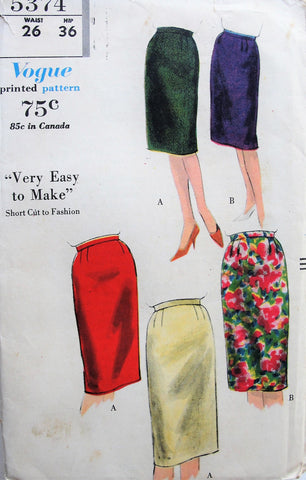 1960s Slim Skirt Pattern Vogue 5374 Very Easy To Make Basic Pencil Skirt Waist 26 Vintage Sewing Pattern