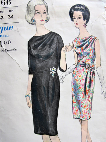 60s CLASSY Cocktail Party Dinner Dress Pattern VOGUE 5466 Stunning Draped Bodice and Front Drapery Bust 32 Vintage Sewing Pattern