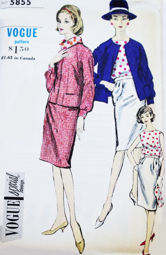 1960s STYLISH Suit Blouse and Bias Scarf Pattern VOGUE SPECIAL Design 5855 Easy Elegance Bust 34 Vintage Sewing Pattern UNCUT