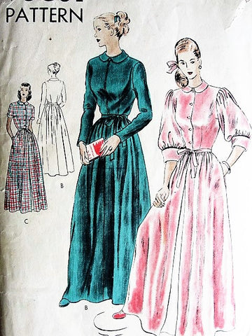 40s BEAUTIFUL House Coat Robe Hostess Gown Pattern VOGUE 6252 Lovely Brunch Coat Lounging Robe Bust 34 Vintage Sewing Pattern