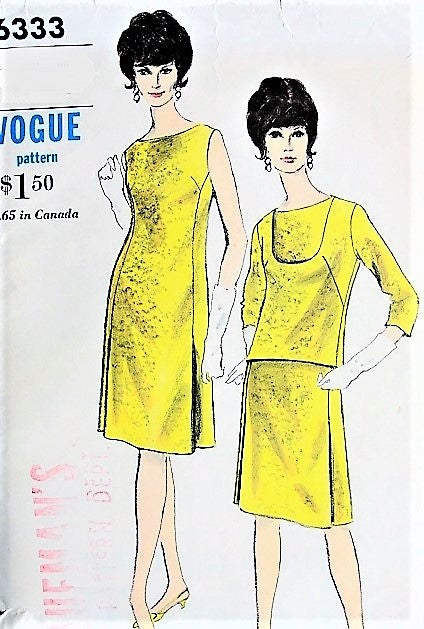 60s MOD Shift Dress and Overblouse Pattern VOGUE 6333 Easy Day to Evening Dress Vintage Sewing Pattern Bust 36