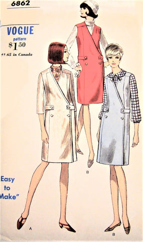 1960s MOD Easy To Make Jumper or Dress and Blouse Pattern VOGUE 6862 Smart Double Breasted Style, Button Back Blouse Bust 32 Vintage Sewing Pattern FACTORY FOLDED