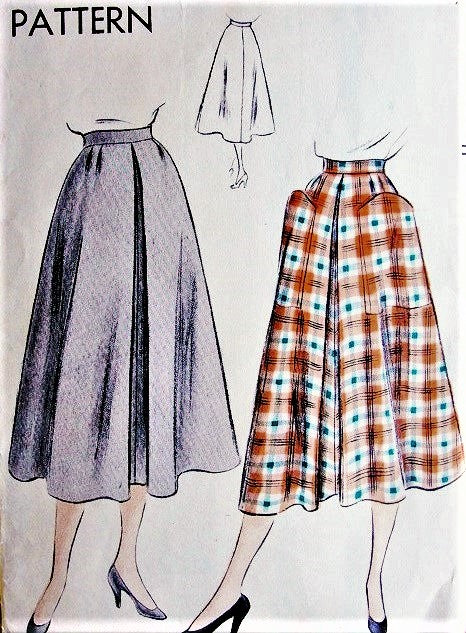 50s Flared Skirt Pattern Vogue 7018 Front Inverted Pleat 2 Huge Optional Pockets Waist 24 Easy To Make Vintage Sewing Pattern