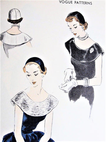50s BEAUTIFUL Collar and Hat Pattern VOGUE 7470 Wide Cape Collar Perfect For Evening Wear, Sectional Cap Easy To Make Vintage Sewing Pattern
