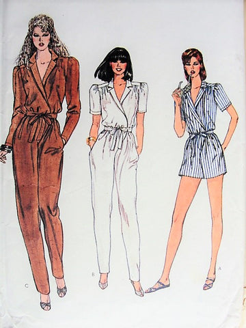 Vintage 1980s Sewing Pattern Vogue 8216 High Waist Jumpsuit,Straight Leg Pants,Bust 36, Glam Surplice Wrap,Evening or Day,Disco Boho, Beach Romper,Very Easy To Sew