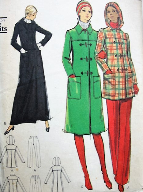 FAB 70s Coat and Pants Pattern VOGUE 8384 Casual or Evening Maxi 3 Lengths Slim Plants Bust 34 Vintage Sewing Pattern UNCUT