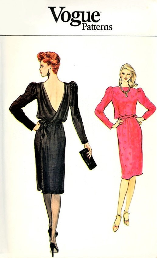 CLASSY 1980s Cocktail Evening Party Dress Pattern VOGUE 8540 Low Back Wrap Dress Bust 34 Vintage Sewing Pattern UNCUT