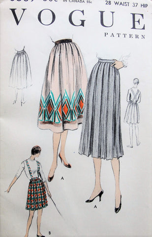 1950s Box Pleated Skirt with Suspenders Vogue 8569 Two Lengths and Versions Pressed or Soft Pleated,Waist 28 Vintage Sewing Pattern FACTORY FOLDED