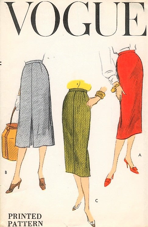 50s FAB Slim Skirts Pattern VOGUE 8965 Three Styles Waist 26 Easy To Make Vintage Sewing Pattern