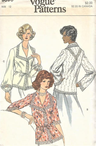 1980s LOVELY Blouse Pattern VOGUE 9090 Lace Trim Three Versions V Neck Sleeve Variations Boho Peasant Styles Bust 34 UNCUT Vintage Sewing Pattern