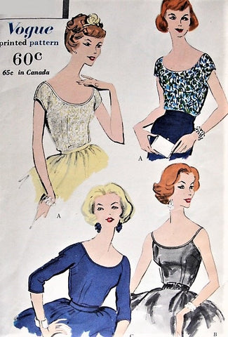 50s Vintage LOVELY Blouses In Three Styles Vogue 9643 Sewing Pattern Bust 32 Vintage Sewing Pattern