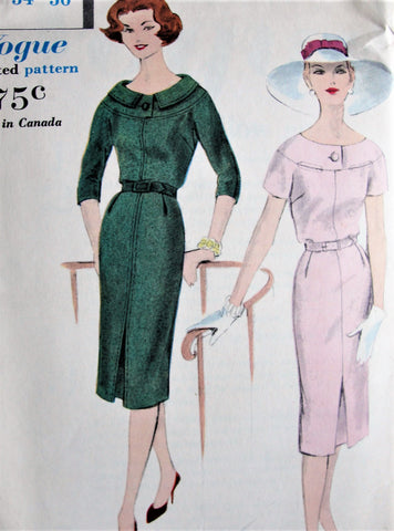 1950s STYLISH Slim Day or After 5 Dress Pattern VOGUE 9734 Easy Elegance Bust 34 Vintage Sewing Pattern FACTORY FOLDED