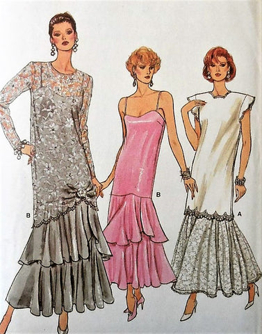 Vintage 1980s Gown Pattern Vogue 9782, Drop Waist,Ruffle Hem,Retro Look,Prom, Special Occasion, Wedding, Flapper Style Tiered, Flounced Sizes 8-10-12 Vintage Sewing Pattern UNCUT