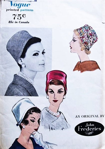 FABULOUS 1950s VOGUE 9923 John Frederics Pillbox Cloche Hats Vintage Sewing Millinery Pattern