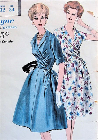 60s LOVELY Two Pc Dress Easy To Make Pattern VOGUE 9941 Notched Collar Side WRAPPED Blouse and Flared Skirt, Day or Cocktail Party Bust 32 Vintage Sewing Pattern UNCUT