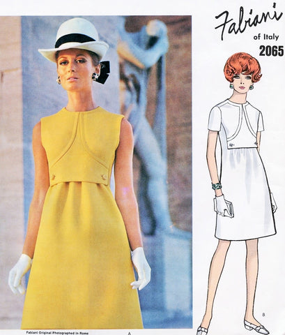 1960s Mod FABIANI Dress Pattern VOGUE Couturier Design 2065 Jewel Neckline Semi Fitted Slightly A Line Vintage Sewing Pattern