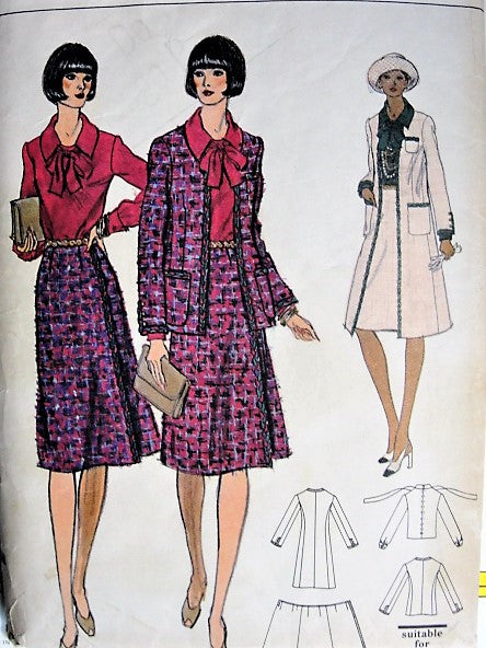 1970s CLASSY Chanel Style Coat, Jacket, Wrap Skirt and Blouse Pattern VOGUE 9112 Bust 34 Vintage Sewing pattern FACTORY FOLDED