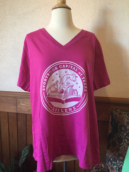 Short Sleeve - TX Storybook Logo - Quote on Back - V-Neck  - Pink