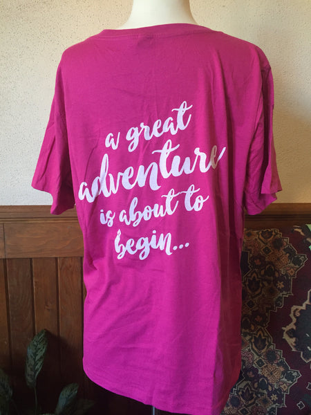 Short Sleeve Storybook Logo Quote on Back V-Neck Shirt - Pink