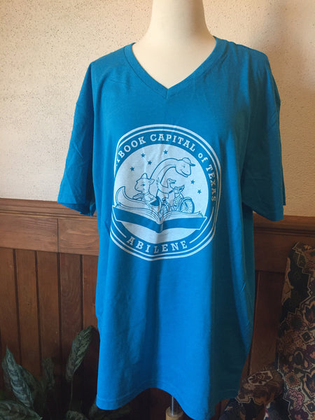 Short Sleeve - TX Storybook Logo - Quote on Back - V-Neck - Blue