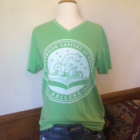Short Sleeve - TX Storybook Logo - V-neck - Green