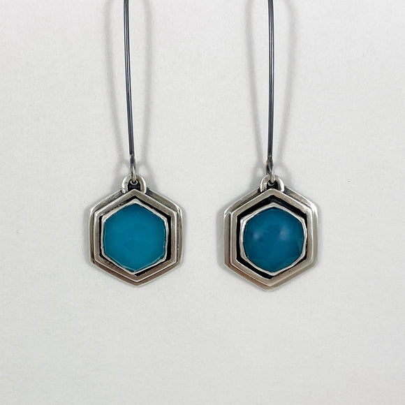 Aqua chalcedony hexagon earrings