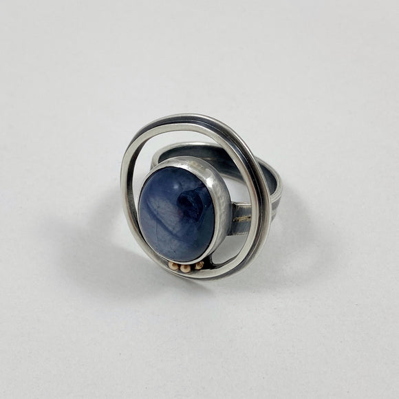 Blue star sapphire ring