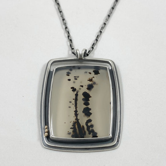Montana agate square necklace