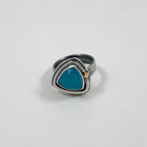 Aqua chalcedony triangle ring