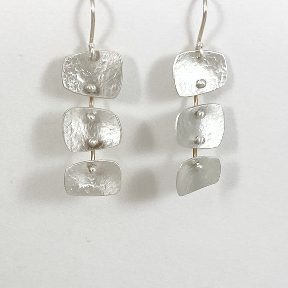 Raw 3 square earrings