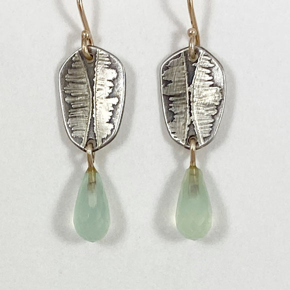 Leaf earrings with aquamarine briolettes