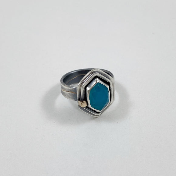 Aqua chalcedony hexagon ring